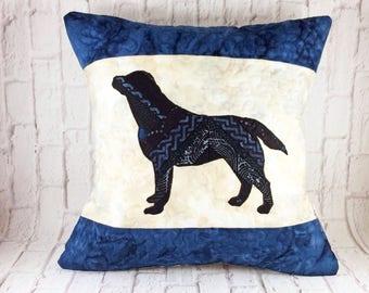 Black Labrador decorative throw pillow, unique home decor, black lab, unique gifts, gifts for dog lovers, dog pillows, unique pillows, #1724