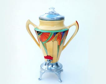 Royal Rochester Fraunfelter 'Modernistic' Coffee Percolator: Cubist Egyptian Revival Art Deco Coffee Urn, VGC
