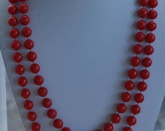 """ON SALE Red 10mm Plastic Beaded Necklace, Long, Vintage, 48"""" (AO13)"""