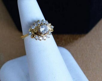 ON SALE Pretty Vintage Faux Diamond Engagement Ring, Gold tone, Size 5-3/4, 14kt Gold Electroplate (AE2)