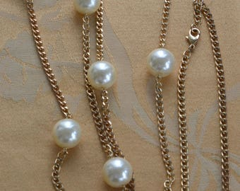 """Large 18mm White Faux Pearl, Gold tone Chain Necklace, 60"""""""
