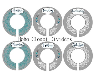 Boho Elephant Nursery Closet Dividers, Teal and Gray Baby Clothes Dividers,  Mandala Clothes Organizer, Bohemian Nursery, Daily divider