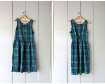 80s Plaid Dress Blue Black Green Sundress Vintage Midi Dress Jumper Sleeveless Sun Dress Preppy School Girl Frock Cotton Dress Womens Small