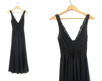 Sexy Black Slip Long Black Vintage Pin Up Lingerie Negligee Maxi Slip Nightgown Lace Front Hollywood Glamour Gown Women's Size Medium