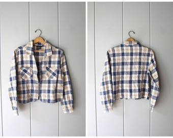 90s Plaid Shirt Jacket Vintage Zip Up Cotton Shirt Preppy Blue White Minimal Crop Top Jacket Summer Coat Womens Small Medium