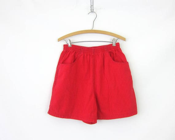 1980s RED Jean Shorts Elastic Waist Denim Shorts Striped Hipster Indie Shorts High Rise MOM Jeans Shorts GS Womens Size 10 Medium