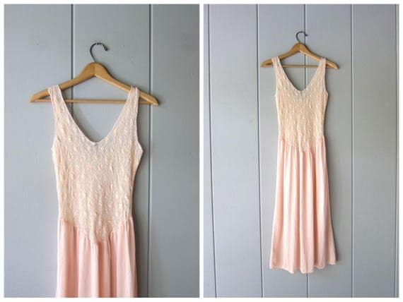 80s Pink Lace Slip Sheer Lace Top Vintage Summer Tank Midi Slip Sexy lingerie Nightgown Lace Nightie Night Gown Womens Small Medium