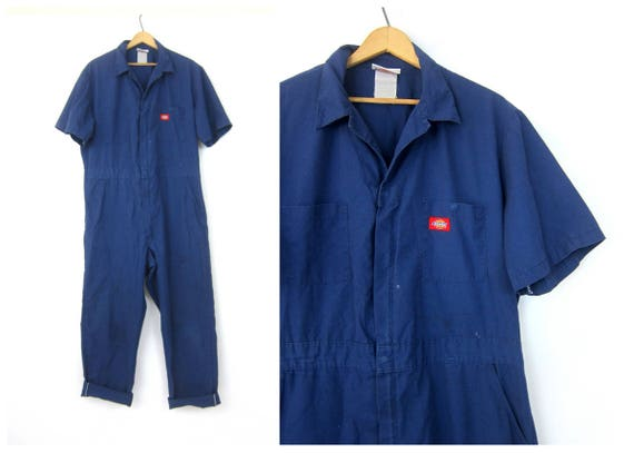 Vintage Dickies Coveralls One Piece Blue Jumpsuit Distressed coveralls Retro One Piece Work Suit Pants Jumper Romper Men's Large XL