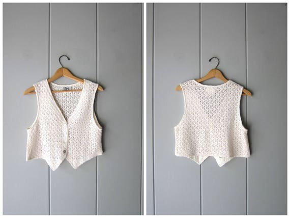 White Crochet Knit Shell Top Vintage 90s Cropped Woven Tank Top Boho Preppy Sheer Crop Top Cotton Knit Tank Vest Top Womens Small Medium