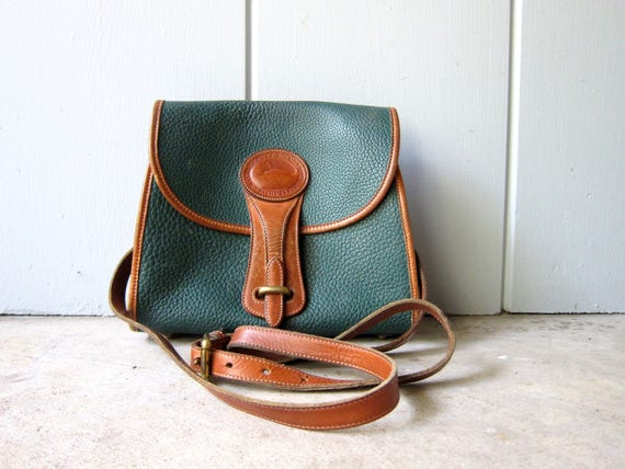 Authentic Vintage Dooney & Bourke Pebbled Leather Purse Green Brown Leather Cross Body Satchel Shoulder Bag 90s 80s Preppy Leather Purse