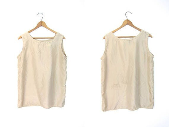 90s Silk Tank Top Sleeveless Blouse Beige Boxy Top Minimal Oversized Top Loose Fit Modern Silk Tee Vintage DELLS Womens Medium