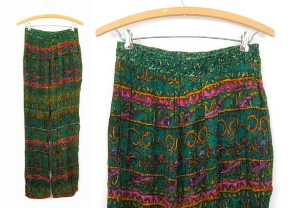80s Lounge Pants Green Crinkle Rayon High Elastic Waist Pants Floral Boho Pattern Harem Pants Resort Wear Womens size Large