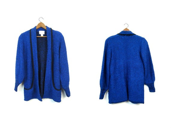 Slouchy Sweater Coat Long Cardigan Sweater 80s Nubby Boucle Grunge Black Blue Duster Vintage Pocket Blanket Coat Knit Jacket Womens Small