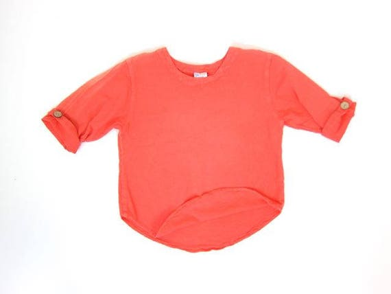 Natural Cotton Crop Top Oversized Neon Orange Tee Minimal Textured Top Vintage 90s Short Sleeve Cropped Tshirt Womens XS Small