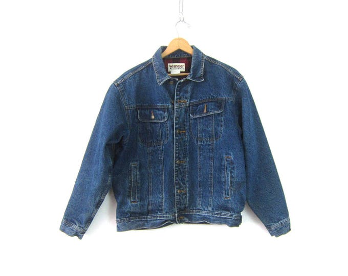 Vintage Wrangler Jean Jacket Rugged Insulated Lined Farmer Coat Rancher Jacket Work Wear Trucker Coat Men's Size Large