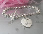 Heart Charm Hand Stamped with Your Initials Bracelet - Personalized Valentine's Day Gift - Sterling Silver Toggle Clasp - Custom Jewellery