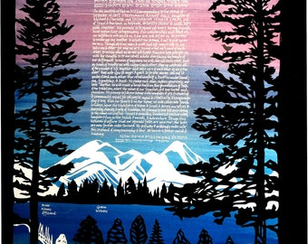 Mountain Reverie Papercut Ketubah - hand lettering Hebrew and English - multilayer artwork