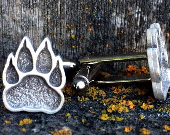 Paw Print Pewter Cufflinks | Animal Jewelry | Bear Jewelry | Gifts For Him | Handcrafted Jewelry | by Treasure Cast Pewter