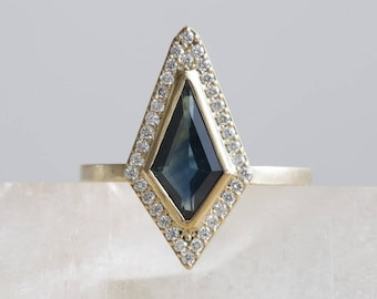 One of a Kind Geometric Blue Montana Sapphire Ring