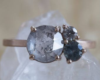 Natural Grey Rose Cut Diamond + Sapphire Cluster Ring