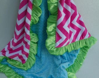 SALE Hot Pink Chevron Minky Baby Blanket Pink and Aqua Can Be Personalized