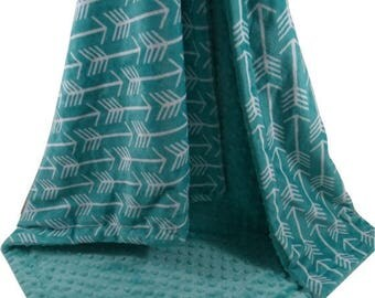 SALE Teal Green Arrow Print with Matching Minky Dot Minky Baby Blanket, available in three sizesCan Be Personalized