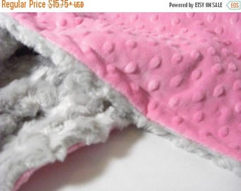 SALE Hot Pink and Gray Minky Baby Blanket - Silver Gray -  Personalized, Minky Adult Blanket Can Be Personalized