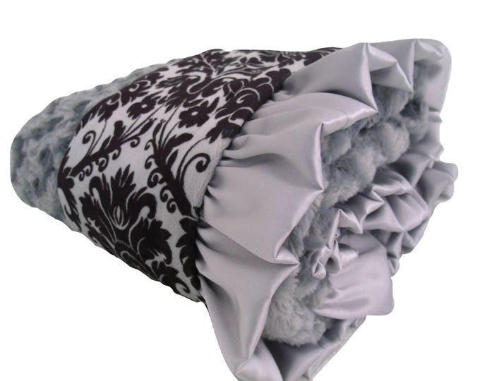 Minky Baby Blanket Black and Gray Damask Unisex Baby Gift