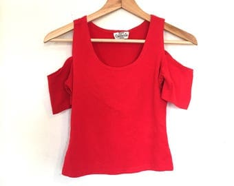 red cold shoulder Crop Top Small