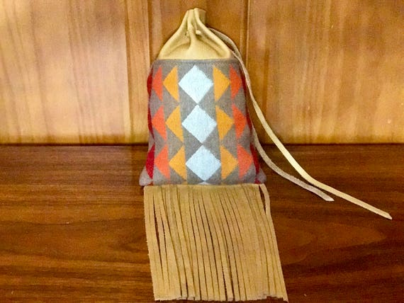Fringed Medicine Bag XL / Cedar Bag / Possibles Bag / Drawstring Bag Wool and Leather
