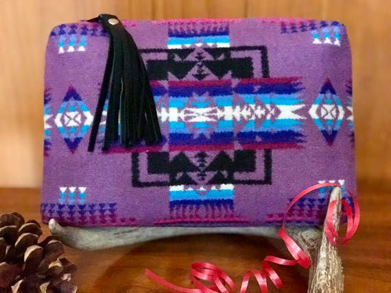 Wool Clutch XL Lined Purple Mini Chief Joseph