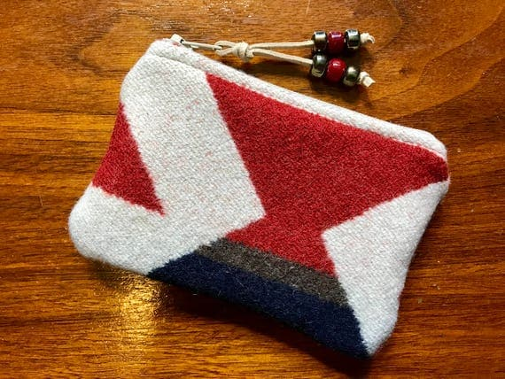 Wool Coin Purse / Phone Cord / Zippered Pouch XL Rust Red Modern Geometric