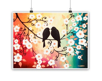 Valentine Decor, Birds Print, Colorful Wall Art Love Birds Art Print, Cherry Blossom Print Romantic Gift for Couple