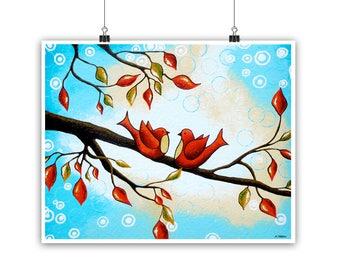 Birds Art Print Christmas Decor, Love Birds Christmas Gift, Winter Wedding Gift, Romantic Gift for Couple, Bedroom Decor