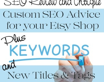 SEO Help - SEO Optimization - Etsy SEO Review - Research and Recovery - Plus New Titles & Meta Tags for Ten Listings