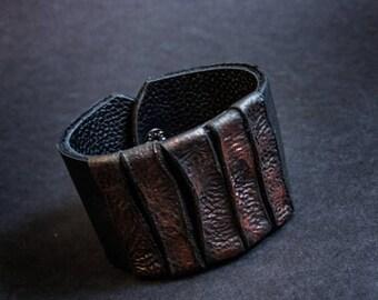 40% OFF SALE Elegant leather  bracelet cuff Statement jewelry Wide wristband  Copper  color
