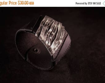 50% OFF SALE Casual elegant women's leather cuff bracelet Black and silver Statement Leather jewelry
