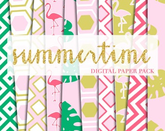 Buy2Get1Free with Code XMASINJULY! New! Summertime Digital Paper Pack (Instant Download)
