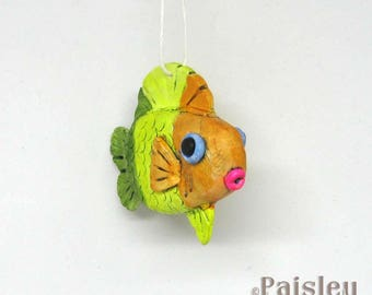 Citrus Stripes Fish Ornament, painted polymer clay fish decoration