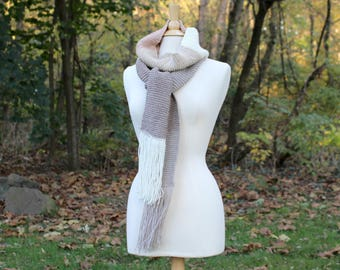 Beige scarf, color block scarf, knit scarf with fringe, long scarf with tassels, warm knit scarf, gift for her, women winter scarf