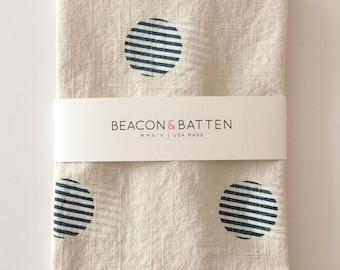 Stripe Circle Towel : Natural Ivory Ground - Navy Blue/White Print