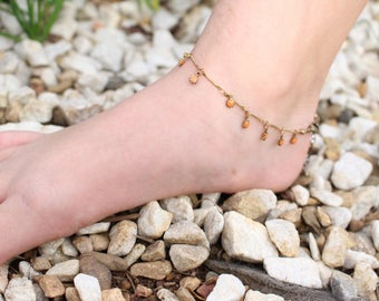 Coral Sunflowers Anklet, Orange Flowers Anklet, Boho Anklet, Bohemian style flower anklet, Summer flower anklet