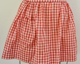 Vintage Red Gingham Half Apron with One Pocket Size Small