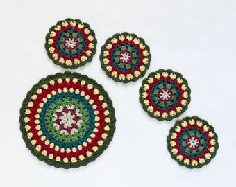 Crochet - Pot Holder and Coaster Set - Narrow Boat - Double Layered