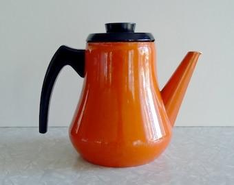 enamelware coffee pot, vintage enamel coffee pot, vintage enamel tea pot, vintage stovetop coffee tea pot, 1.5 L by eva, orange enamelware