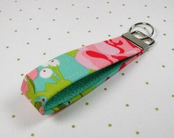 Key Fob Wristlet, Fabric Key Chain, Wrist Key Chain ..Hello Gorgeous in Mint