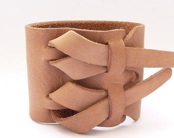 On Sale Double Leather Cuff in Safari Taupe by Muse 2 inches