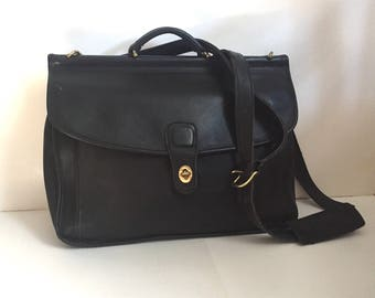 FREE SHIPPING Vintage Coach Black Leather Beekman Briefcase Messenger Bag 5266