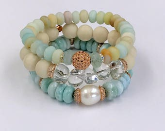 Blush Stone Stretch Layering Bracelet Pave Rose Gold CZ Bead Yoga Bracelet Stacking Bracelet Crystal Quartz Nuggets