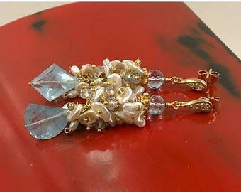 SUMMER SALE Aquamarine Earrings Blue Gemstone Earring Keishi Pearl Cluster 14k Gold Fill  Mismatched Gemstone Long Wedding Earring March Bir